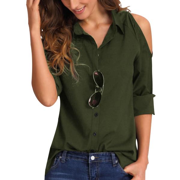 Cold Shoulder Green Formal Collar Shirt
