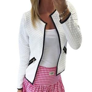 Zipper Pocket White Pattern Cardigan