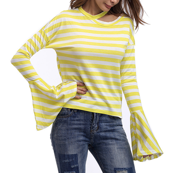 Flare Sleeves Yellow Striped Top
