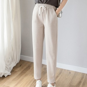 Waist Belt Loose Style Bottom Trousers - Apricot