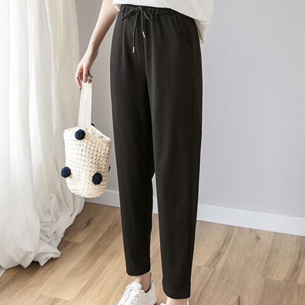 Waist Belt Loose Style Bottom Trousers - Black