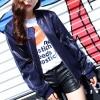 Shiny Dark Blue Front Zipper Winter Jacket