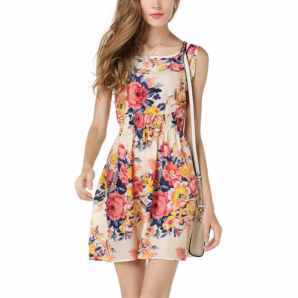 Lightweight Polyester Spandex Women Floral Dress