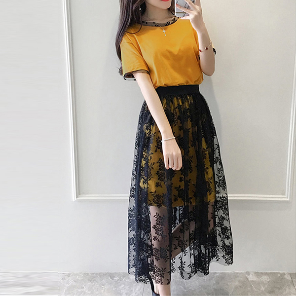 Two Pieces Contrast Net Skirt With Mini Dress - Yellow