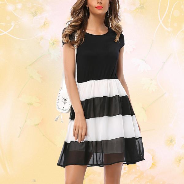 Black and White Stripes Elegant Casual Chiffon Party Dress