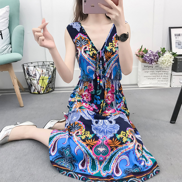 Bohemian Prints Beach Wear Long Dress - Blue