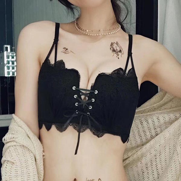 Embroidered Lace Straps Small Breasts Ladies Bra - Black