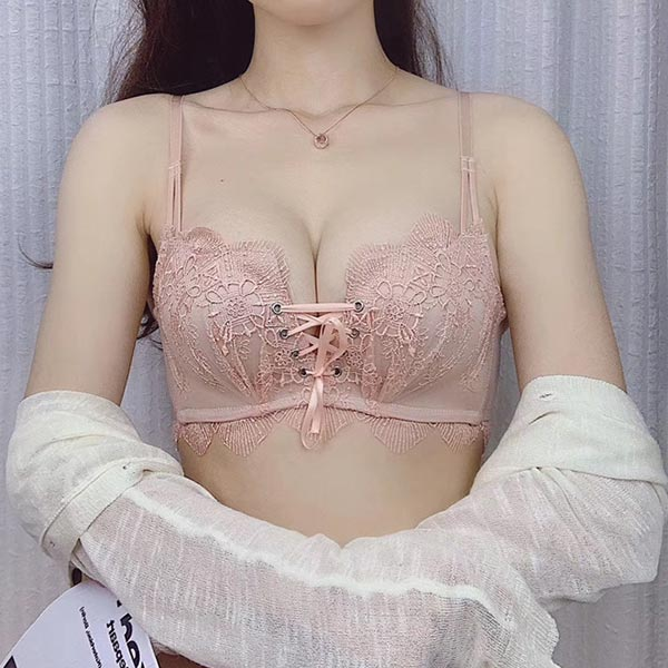 Embroidered Lace Straps Small Breasts Ladies Bra - Pink