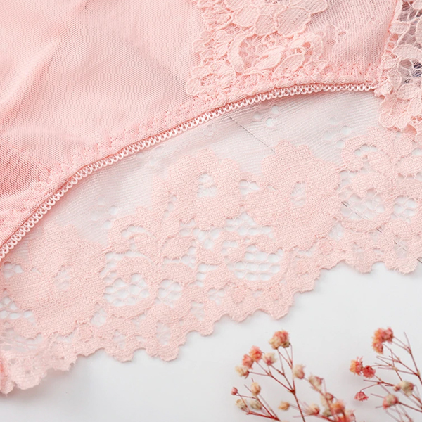 Lace Patched Floral Texture Transparent Underwear - White