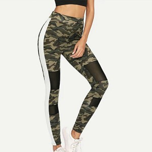 Contrast Polyester Yoga Women Sports Trousers - Army Green