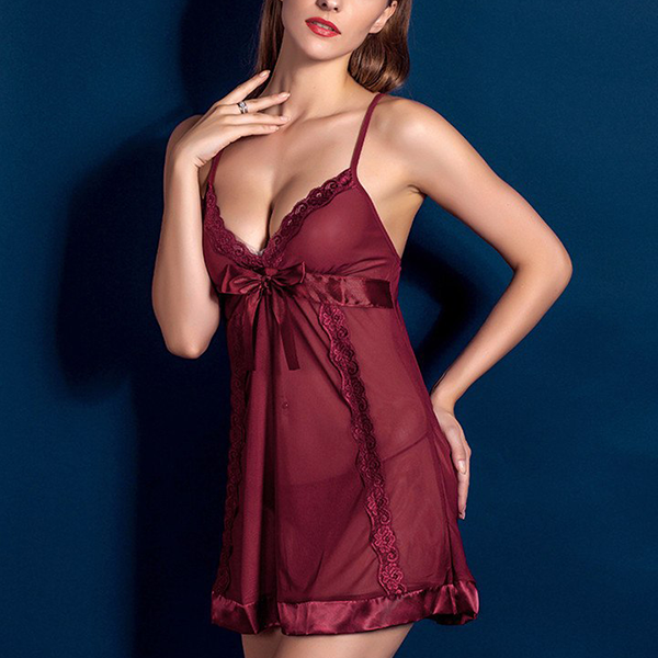 Strappy Silk Floral Night Lingerie - Burgundy