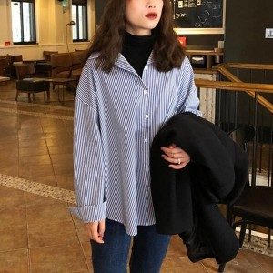 Stripes Pattern Long Sleeves Suit Neck Blouses - Blue