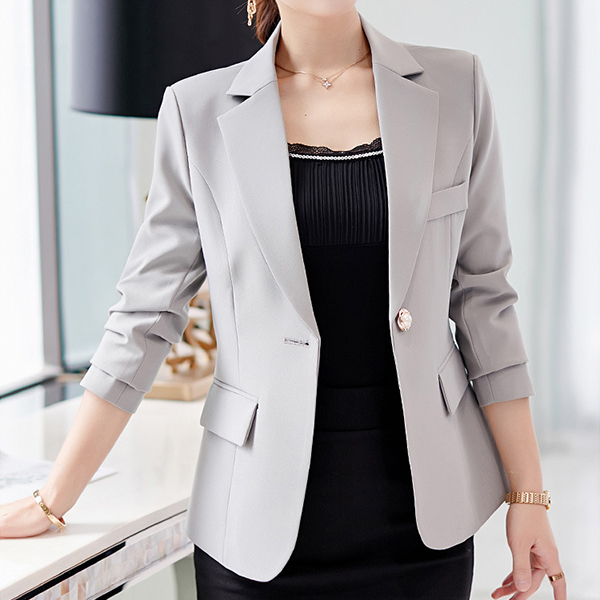Office Wear Formal Suit Collar Coat - Grey