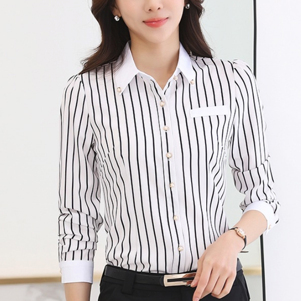 Black Lining White Contrast Formal Shirt