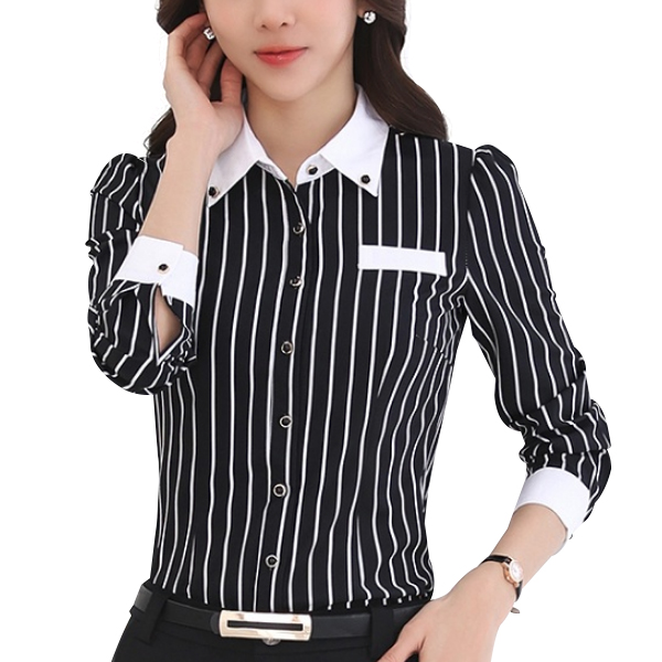White Lining Black Contrast Formal Shirt
