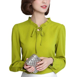 Ruffle Collar Chiffon Green Shirt