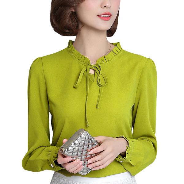 Ruffle Collar Chiffon Green Shirt