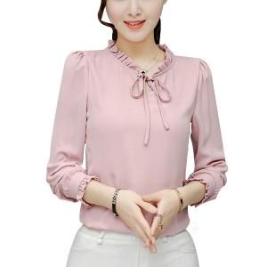 Ruffle Collar Chiffon Pink Shirt