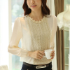 Pearl Decorated Floral Lace Patched Shirt