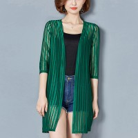 Lining Pattern Shiny Green Shawl Neck Cardigan