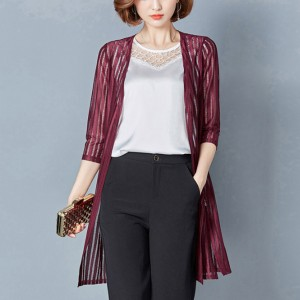 Lining Pattern Shiny Burgundy Shawl Neck Cardigan