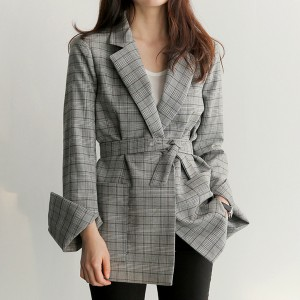 Plaid Texture Long Sleeves Suit Neck Casual Outwear Coat - Grey