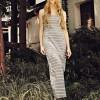 Scoop Neck Stripes Maxi Dress - Grey