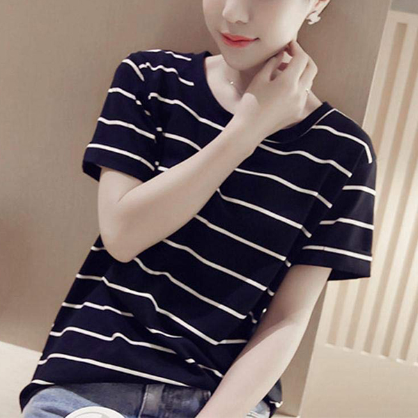 Round Neck Stripes Print Summer T-Shirt - Black