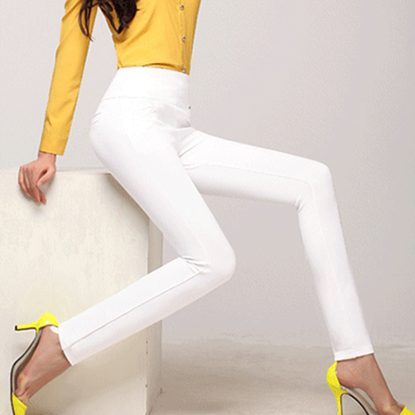 Body Fitted Elastic Stretchable Women Trousers - White