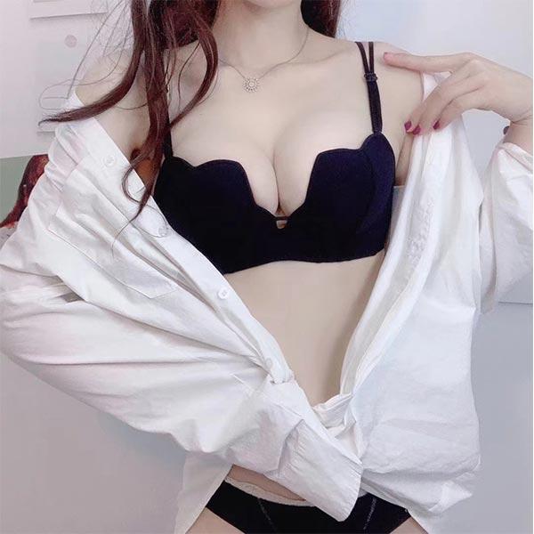 Beauty Heart Shape Plain Soft Cotton Ladies Bra - Black