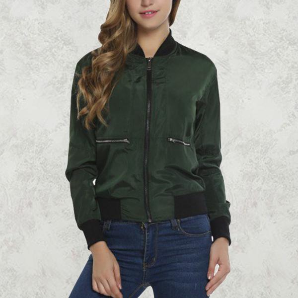 Ribbed Collar Shiny Zipper Green Jacket With Pockets