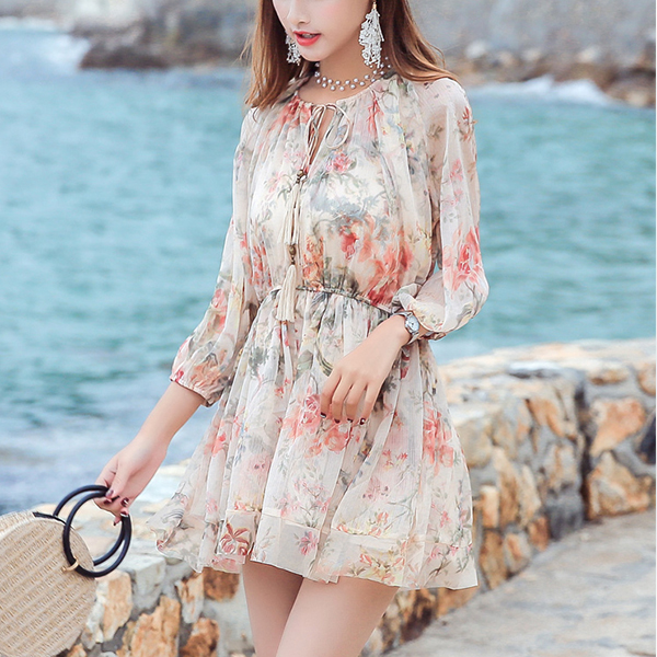 Floral Printed Waist Elastic Mini Beach Dress