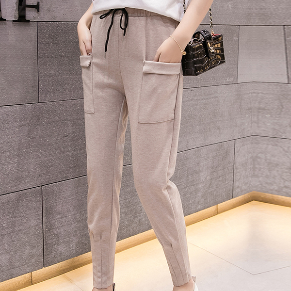 Front Pocket Patched Waist String Trousers - Khaki