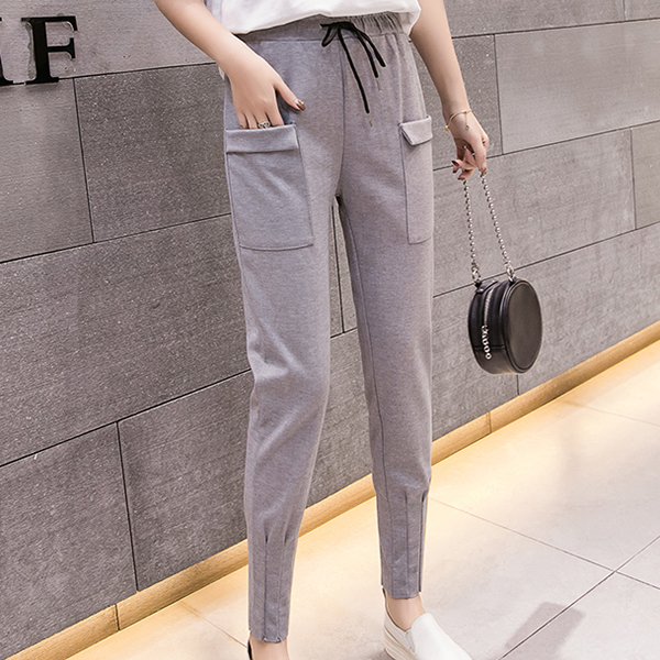Front Pocket Patched Waist String Trousers - Grey