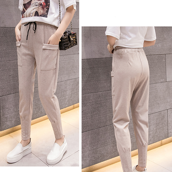 Front Pocket Patched Waist String Trousers - Apricot