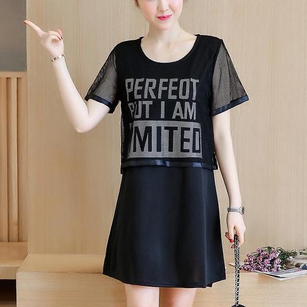 Net Prints Solid Black T-Shirt Dress