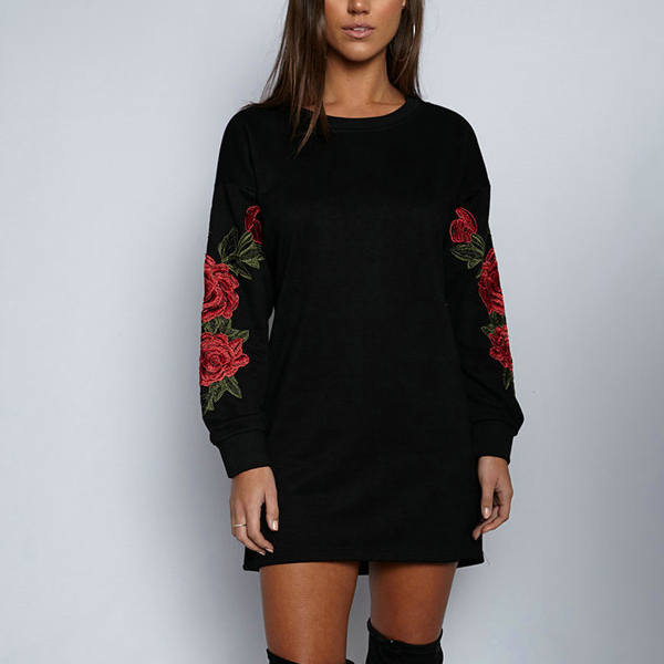 Floral Embroidered Black Loose Long T-Shirt - Black