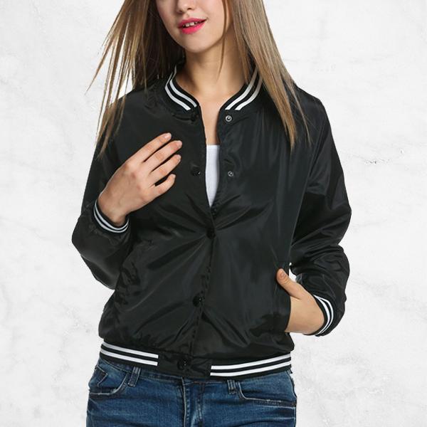 Titch Button Shiny Black Casual Jacket