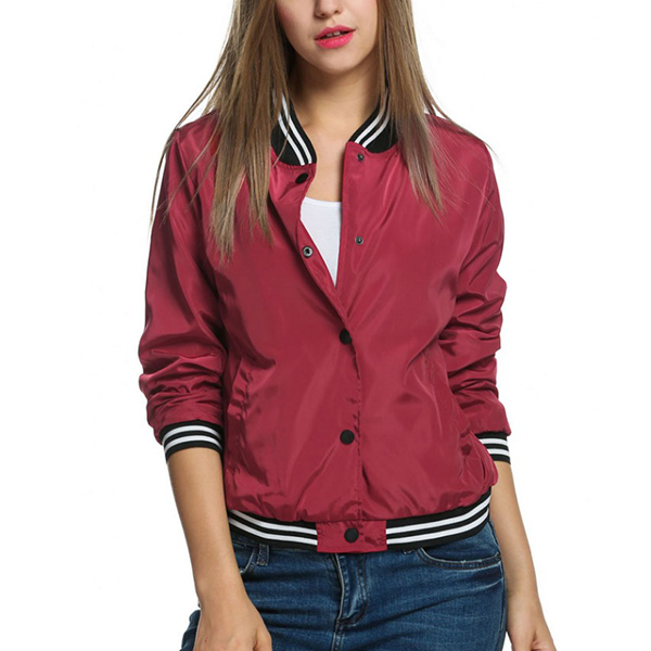 Titch Button Shiny Red Casual Jacket