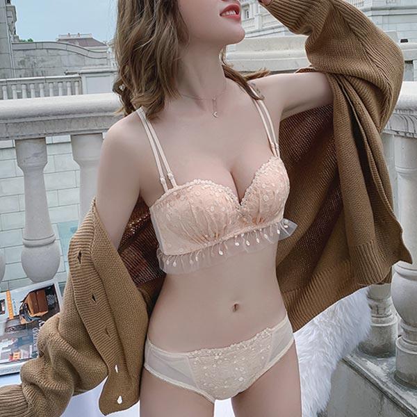 Lace-rimmed Girl Breast Bra Adjustable Lingerie Set - Skin