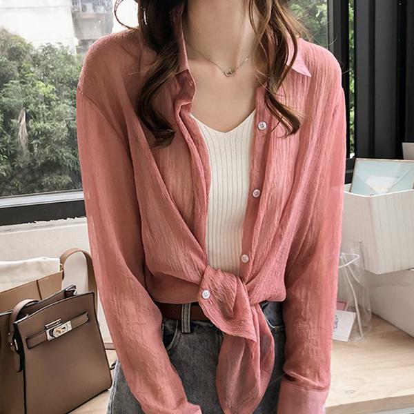 Chiffon Crush Pattern Outwear Summer Shirt - Pink
