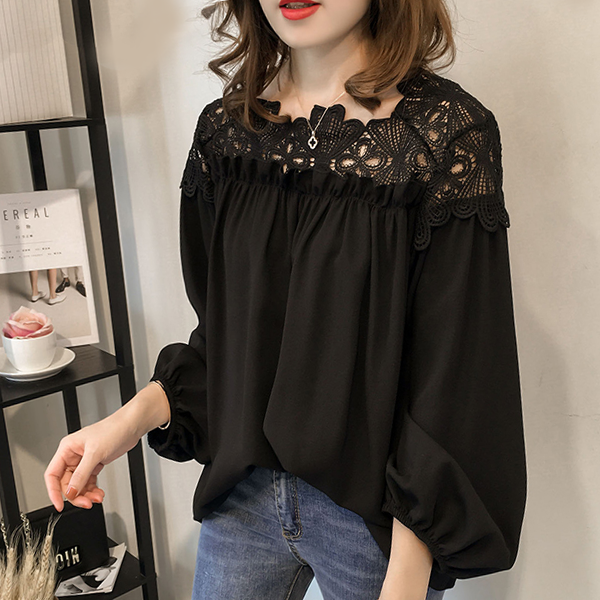Lace Textured Loose Pleated Blouse Shirt