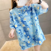 Floral Digital Prints Round Neck Casual T-Shirt - Blue