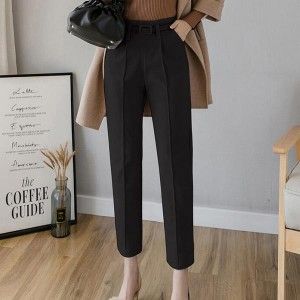 Elegant Work Wear Suit Casual Women Dress Pants - Black