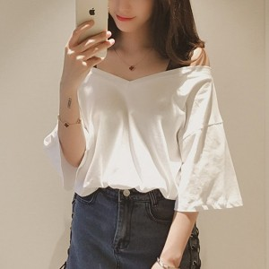 Lace Strap Cold Shoulder Solid Color Summer Shirt - White