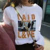 Long-sleeved Loose Waist Round Neck Girl T-shirts - White
