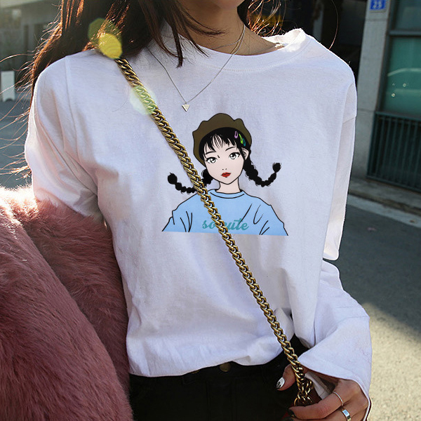 Round Neck Long-sleeved Loose Waist Girl T-shirts - White