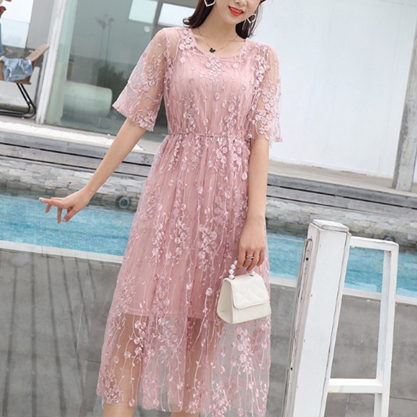 Round Neck Floral Lace Transparent Party Dress