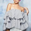Off-shoulder Sexy Striped Women Peplum Blouse Irregular Top