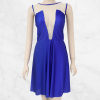 Net Cut Decorated Chest Blue Mini Dress